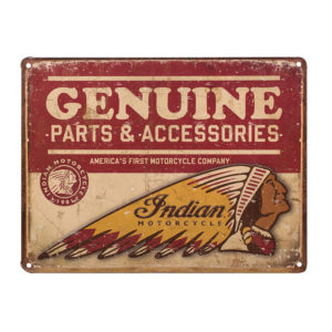 INDIAN GENUINE PARTS EMBOSSED METAL SIGN - METALLSCHILD